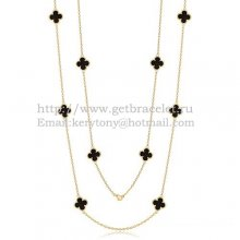 Van Cleef & Arpels Vintage Alhambra Necklace Yellow Gold 10 Motifs With Black Agate Mother Of Pearl