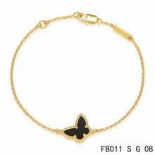Cheap Van Cleef & Arpels Sweet Alhambra Butterfly Bracelet In Yellow Gold With Onyx