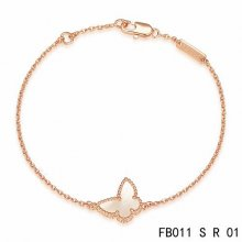 Fake Van Cleef & Arpels Sweet Alhambra Butterfly Bracelet In Pink Gold With Mother-Of-Pearl