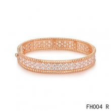 Van Cleef Arpels Perlee Bracelet with Diamonds Pink Gold-Medium Model