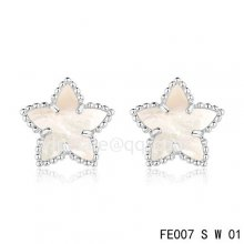Cheap Van Cleef & Arpels Sweet Alhambra Star White Earrings,White Mother-Of-Pearl