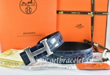 Hermes Reversible Belt Blue/Black Crocodile Stripe Leather With18K Drawbench Silver H Buckle