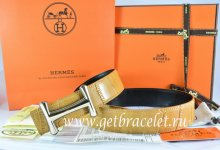 Hermes Reversible Belt Orange/Black Crocodile Stripe Leather With18K Gold Idem Buckle