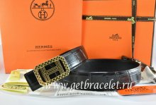 Hermes Reversible Belt Black/Black Crocodile Stripe Leather With18K Gold Lace Strip H Buckle