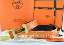 Hermes Reversible Belt Orange/Black Ostrich Stripe Leather With 18K Gold H Logo Buckle