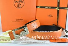 Hermes Reversible Belt Orange/Black Ostrich Stripe Leather With 18K Gold Coach Buckle