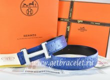 Hermes Reversible Belt Blue/Black Ostrich Stripe Leather With 18K White Silver Narrow H Buckle
