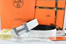 Hermes Reversible Belt White/Black Togo Calfskin With 18k Gold Wave Stripe H Buckle