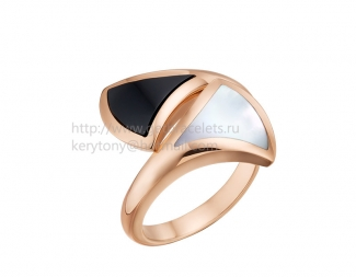 Replica Bvlgari DIVAS' Dream Ring Rose Gold with Black Onyx and Mother of Pearl