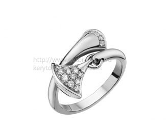 Replica Bvlgari DIVAS' Dream Ring White Gold with Pave Diamonds