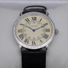 Cartier Ronde Louis large diamond swiss watch for men and women steel black leather strap