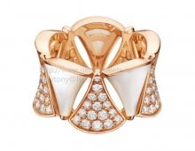 Replica Bvlgari Divas' Dream Ring Rose Gold with Mother of Pearl and Pave Diamonds
