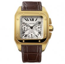 Cartier Santos 100 Chronograph XL swiss automatic mens watch W20096Y1 yellow gold