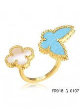 Van Cleef Arpels Luck Alhambra Between The Finger Ring Yellow Gold Turquoise With Mother Of Pearl