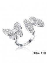 Van Cleef Arpels Two Butterfly Between The Finger Ring White Gold Diamonds