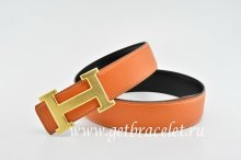 Hermes Reversible Belt Orange/Black Classics H Togo Calfskin With 18k Gold With Logo Buckle