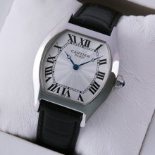 Cartier Tortue medium replica watch stainless steel black leather strap