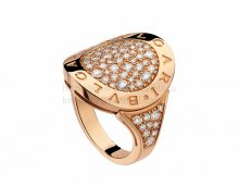 Copy BVLGARI BVLGARI Pink Gold Ring with Pave Diamonds AN854862