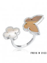 Van Cleef Arpels Luck Alhambra Between The Finger Ring White Gold With White and Grey Mother Of Pearl