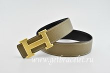Hermes Reversible Belt Gray/Black Classics H Togo Calfskin With 18k Gold With Logo Buckle