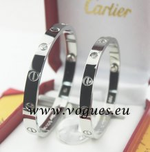 Cartier Couple Bracelet White Gold 4 Diamonds B6041003 (New Version - Prevent Screws Fall Out)