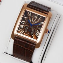 Cartier Tank MC swiss quartz watch for men 18K pink gold brown dial and leather strap
