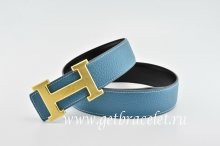 Hermes Reversible Belt Blue/Black Classics H Togo Calfskin With 18k Gold With Logo Buckle
