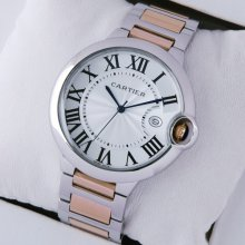 Ballon Bleu de Cartier large watch silver dial two-tone 18K pink gold and steel