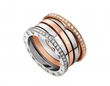Replica Bvlgari B.zero1 Labyrinth Ring in Rose and White Gold Set With Pave Diamonds
