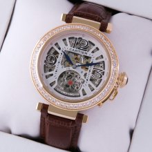 Pasha de Cartier large skeleton diamond unisex watch yellow gold brown leather strap