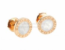 Copy BVLGARI BVLGARI Small Rose Gold Stud Earrings with Mother of Pearl