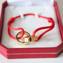 Cartier Double Ring Love Bracelet Yellow Gold Red Rope