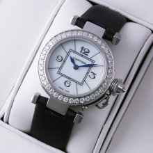 Pasha de Cartier diamond ladies watch steel white mother of pearl dial black satin strap
