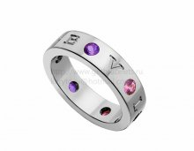 Copy BVLGARI BVLGARI Ring in White Gold with Amethysts and Pink Tourmalines