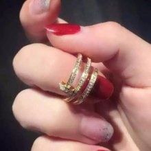Cartier Juste Un Clou Yellow Gold Full Diamond Double Nail Ring