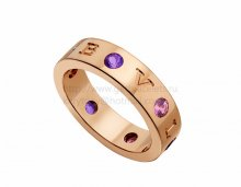 Copy BVLGARI BVLGARI Ring in Rose Gold with Amethysts and Pink Tourmalines