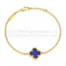 Van Cleef & Arpels Sweet Alhambra Bracelet Yellow Gold With Lapis Stone Mother Of Pearl