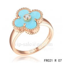 Cheap Van Cleef Vintage Alhambra Ring In Pink Gold With Turquoise