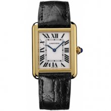 Cartier Tank Solo large mens watch replica W5200004 18K yellow gold black leather strap