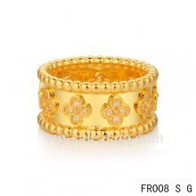 Fake Van Cleef & Arpels Clover Ring In Yellow With Round Diamonds