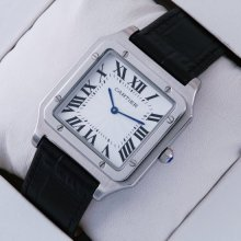 Cartier Santos 100 quartz mens watch replica stainless steel black leather strap