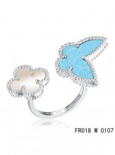 Van Cleef Arpels Luck Alhambra Between The Finger Ring White Gold Turquoise With Mother Of Pearl
