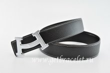 Hermes Reversible Belt Black/Black Fashion H Togo Calfskin With 18k Silver Buckle