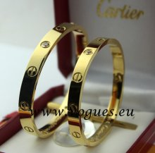 Cartier Couple Bracelet Yellow Gold 4 Diamonds B6041004 (New Version - Prevent Screws Fall Out)