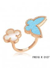 Van Cleef Arpels Luck Alhambra Between The Finger Ring Pink Gold Turquoise With Mother Of Pearl