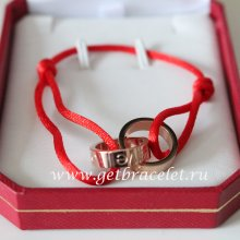 Cartier Double Ring Love Bracelet Pink Gold Red Rope