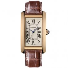 Cartier Tank Americaine mens replica watch W2603156 18K pink gold brown leather strap