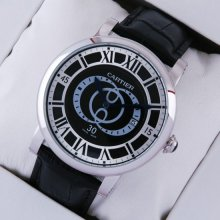 Rotonde de Cartier large black dial and leather strap steel replica watch for men