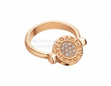 Fake BVLGARI BVLGARI flip Ring Pink Gold with Mother of Pearl and Pave Diamonds