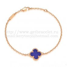 Van Cleef & Arpels Sweet Alhambra Bracelet Pink Gold With Lapis Stone Mother Of Pearl